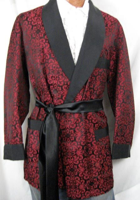 Smoking Jacket should also have at least side pockets at approximately waist level (for pipes, tobacco, tampers, pipe cleaners, etc.) and if possible a breast pocket. once again matching or contrasting loose satin pants