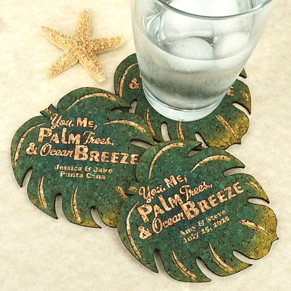"""Make choosing your wedding favors a """"breeze""""! Our Personalized Palm Leaf Cork Coasters add a tropical touch to any celebration!  Each beautiful"""