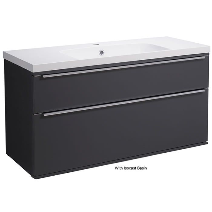 Roper Rhodes Scheme 1000mm Wall Mounted Basin Unit with Double Drawers in Matt Carbon SCH1000D.MCB