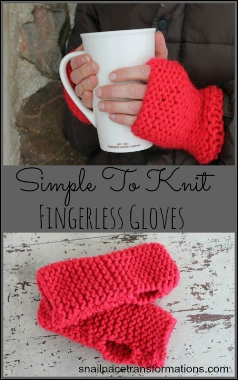 Simple to knit fingerless gloves Great project for a beginner knitter