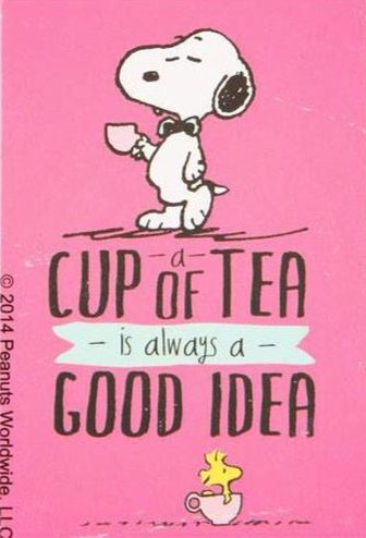Snoopy and Woodstock - A Cup of Tea Is Always A Good Idea!