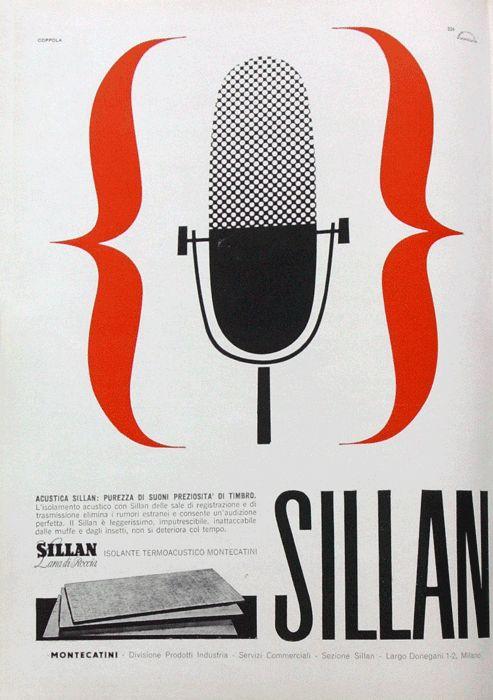 Silvio Coppola  Pagina pubblicitaria per Sillan - Montecatini Acustica Sillan: purezza di suoni preziosità di timbro.  Progetto grafico di Silvio Coppola, (1920-1985).