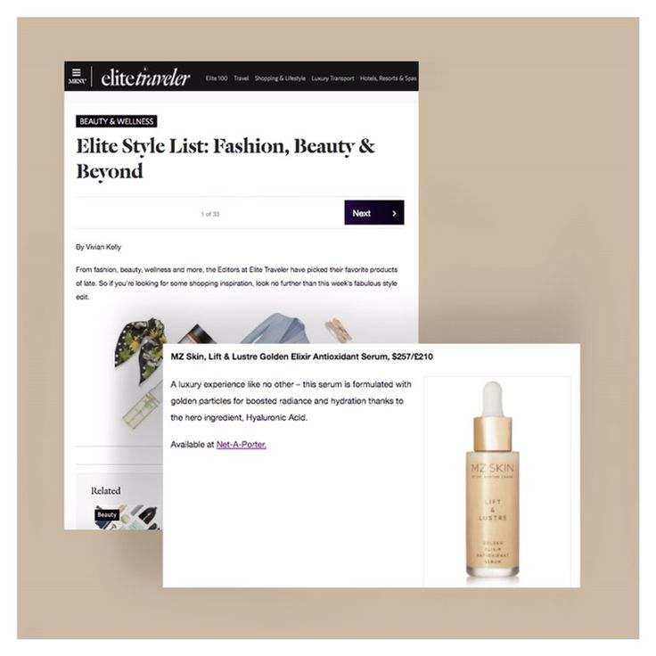 Thank you to @elitetraveler for including MZ Skin's Lift & Lustre Golden Elixir Antioxidant Serum as a luxury experience like no other. #expertadvice #lift&lustre #antioxidant #liquidgold #gold # serum #elixir #elitetraveler #luxury #skincare #beauty #radiance #antiageing #glowingskin #bbloggers #mzskin #drmaryamzamani