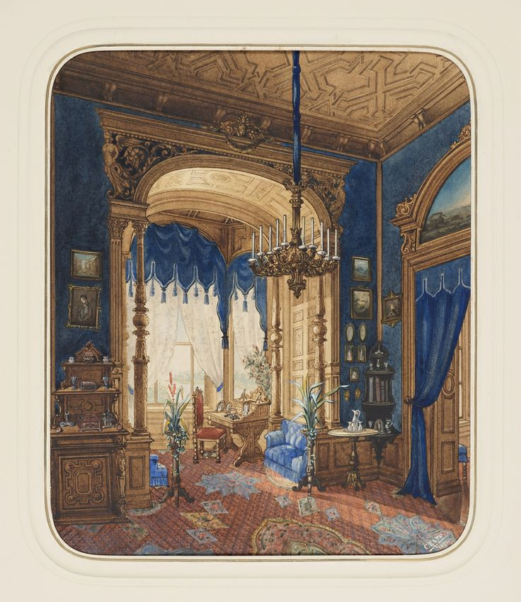 """Drawing, """"Blue Interior"""", 1877http://collection.cooperhewitt.org/"""