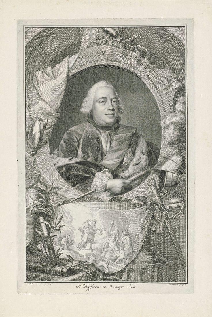 Jacob Houbraken | Portret van Willem IV, prins van Oranje-Nassau, Jacob Houbraken, Jacobus Haffman, Pieter Meyer, 1751 | Portret van Willem IV, prins van Oranje-Nassau omringd met attributen behorende bij de vrede, zoals olijftak en vrijheidshoed. Tevens liggen rond het portret attributen van de waarheid (de spiegel) en de rechtspraak (de balans). Onder het portret een allegorische voorstelling op een doek over de vrede.