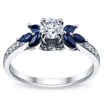Would be cool if the sapphires went all the way around the diamond  http://rubies.work/0584-emerald-rings/ White Gold Diamond Engagement Ring