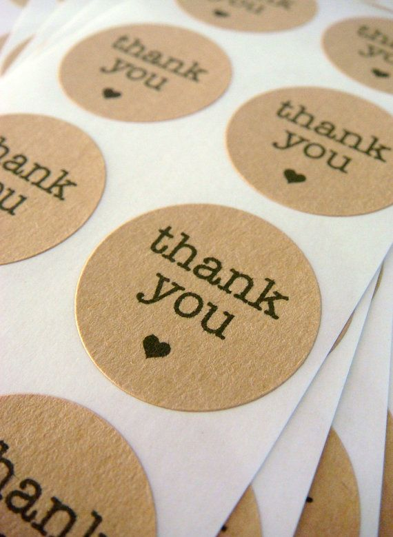 "96 thank you circle stickers 1"" brown kraft paper, envelope seals, stickers (S-01) via Etsy"