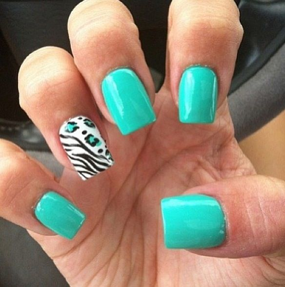 99 best nails images on pinterest clothing hair and make up i love everything about these nails teal my fav color cheetah print and zebra love them prinsesfo Image collections