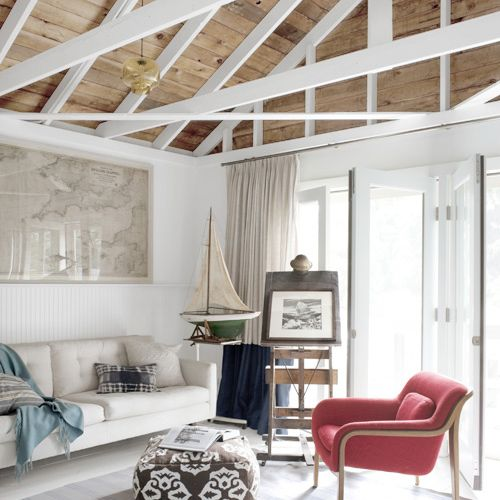 Natural wood panels and white wood ceiling beams for the for Natural wood beams