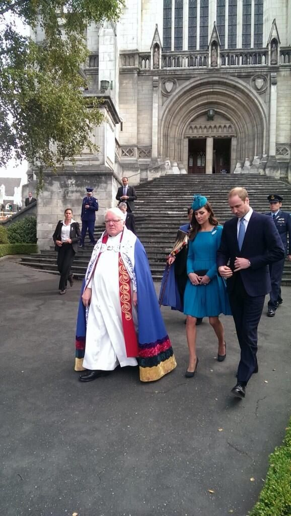 William & Kate leaving St. Paul's Anglican Cathedral after Palm Sunday services in Dunedin, NZ. April 13, 2014
