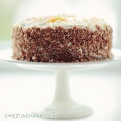 Tort brzoskwiniowy (biszkopt upiec ze swojego sprawdzonego przepisu)