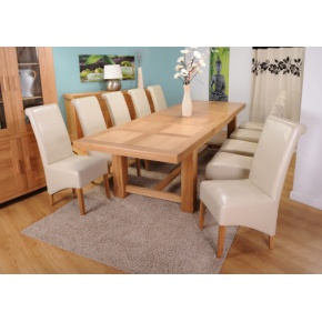 Grand Marseilles Large Oak Dining Table with 10 Krista Ivory Leather Chairs - Set   www.easyfurn.co.uk