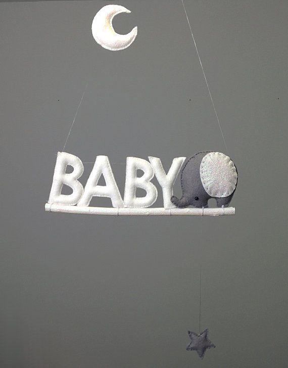 Elephant Baby Mobile Moon Nursery Decor Baby Nursery by BubblyMoon
