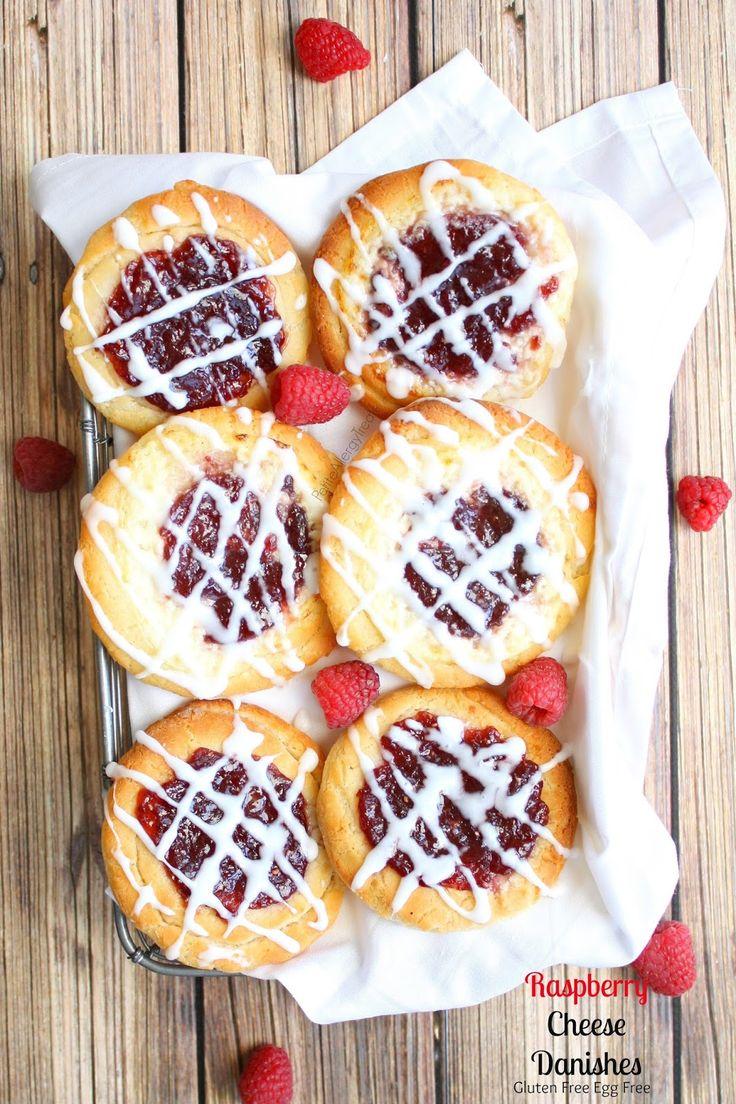Enjoy a gluten free raspberry cheese danish! A sweet breakfast pastry bun created from gluten free egg free vegan dough.