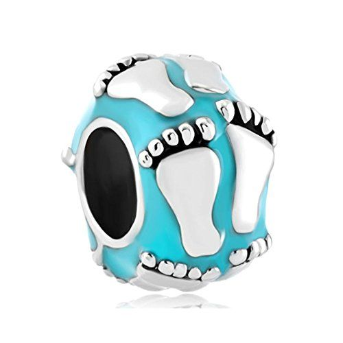 Baby Charms New Babby First Steps Footprint Aquamarine Blue Jewelry Beads Gift for Boy Fit Pandora Charms Bracelet - http://www.jewelryfashionlife.com/baby-charms-new-babby-first-steps-footprint-aquamarine-blue-jewelry-beads-gift-for-boy-fit-pandora-charms-bracelet/