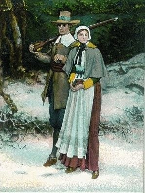 Priscilla and John Alden, original Mayflower passengers.  They married after arriving and settling in Plymouth Colony.