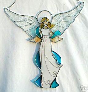 Teal Stained Glass Angel Suncatcher  #TopToBottom #WearTeal #belabumbum
