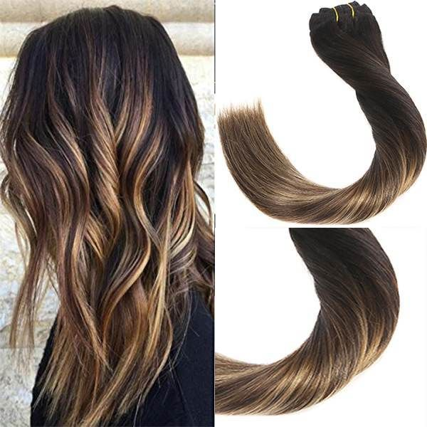 Balayage Clip in Remy Human Hair Extensions #1b/4/27 g-sunny.com