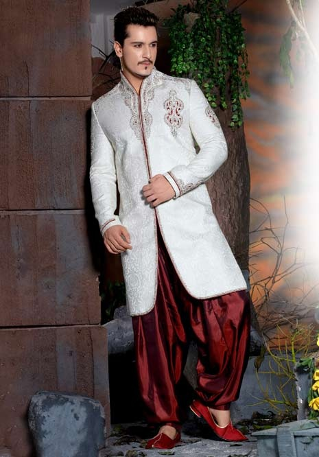 Off White Jacquard Embroidered Sherwani with Patiala