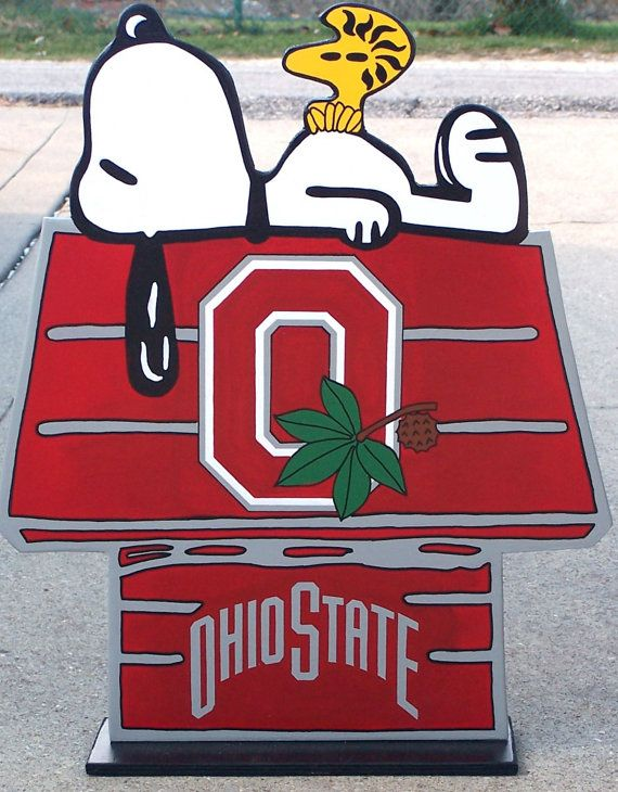 OHIO STATE Buckeyes Snoopy Peanuts DOGHOUSE with Woodstock College Wood Decor Sign, Done in Brillant Team Colors