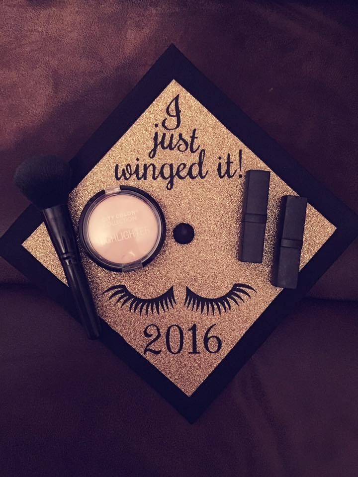 Makeup themed graduation cap I just winged it 2016
