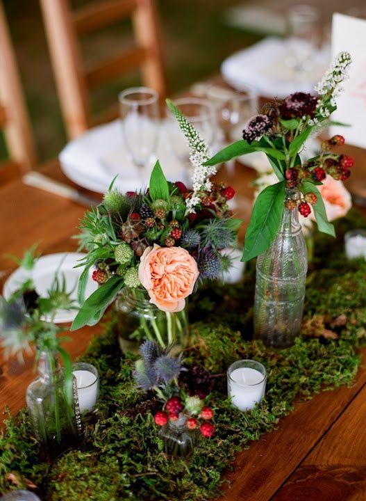 Moss Wedding Centerpieces | centerpieces - moss bottom and varied glass jars