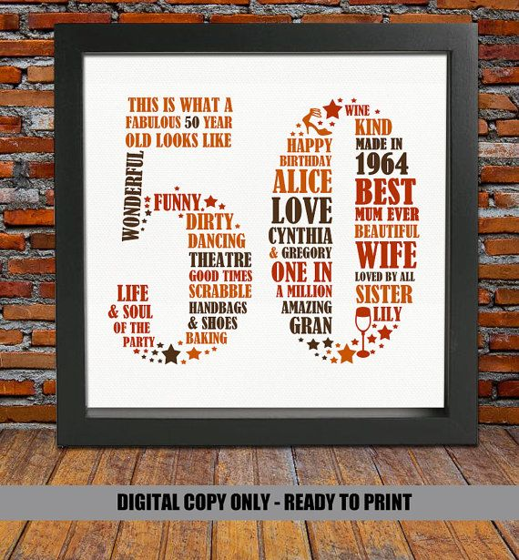Personalized Birthday Gift  50th birthday 50th by BlingPrints