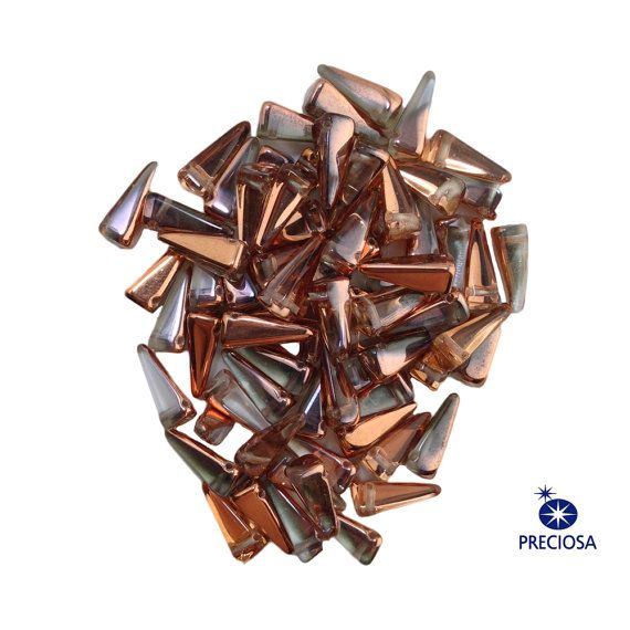 Preciosa Crystal Copper Glass Czech Villa Beads by yummytreasures
