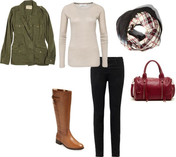 Military Jacket + Long Sleeved Tee + Plaid Scarf + Black Jeans + Riding Boots Light layers are what fall is all about. This outfit perfectly combines a layering tee with a military jacket and tops...
