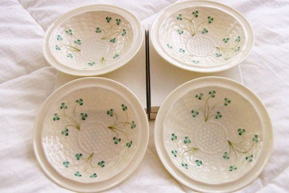 vintage+belleek+china | Vintage Set of Four Belleek China Cereal Bowls Purchased New in 1968