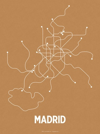 Madrid (Orange & Pearl White) Serigrafia von Line Posters - AllPosters.ch