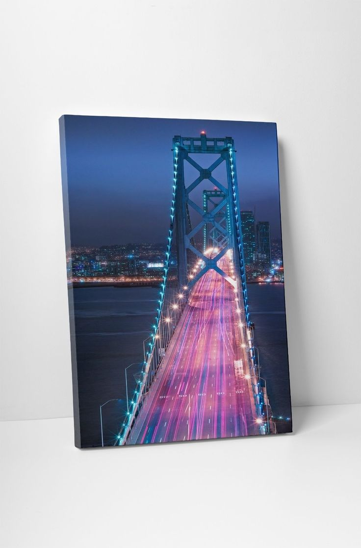 "Oakland Bridge Night Skyline Gallery Wrapped Canvas Print. 30""X20"" Or 20""X16"""