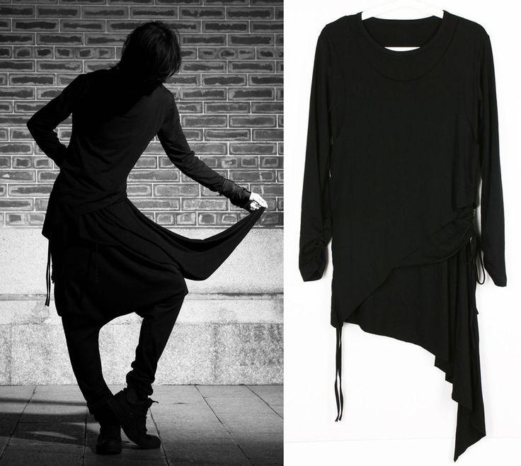 Gothic Ninja Shirt Upper Part Black Asymmetric Rockabilly Men's Women's Unisex #Tuifei #Buttonfront