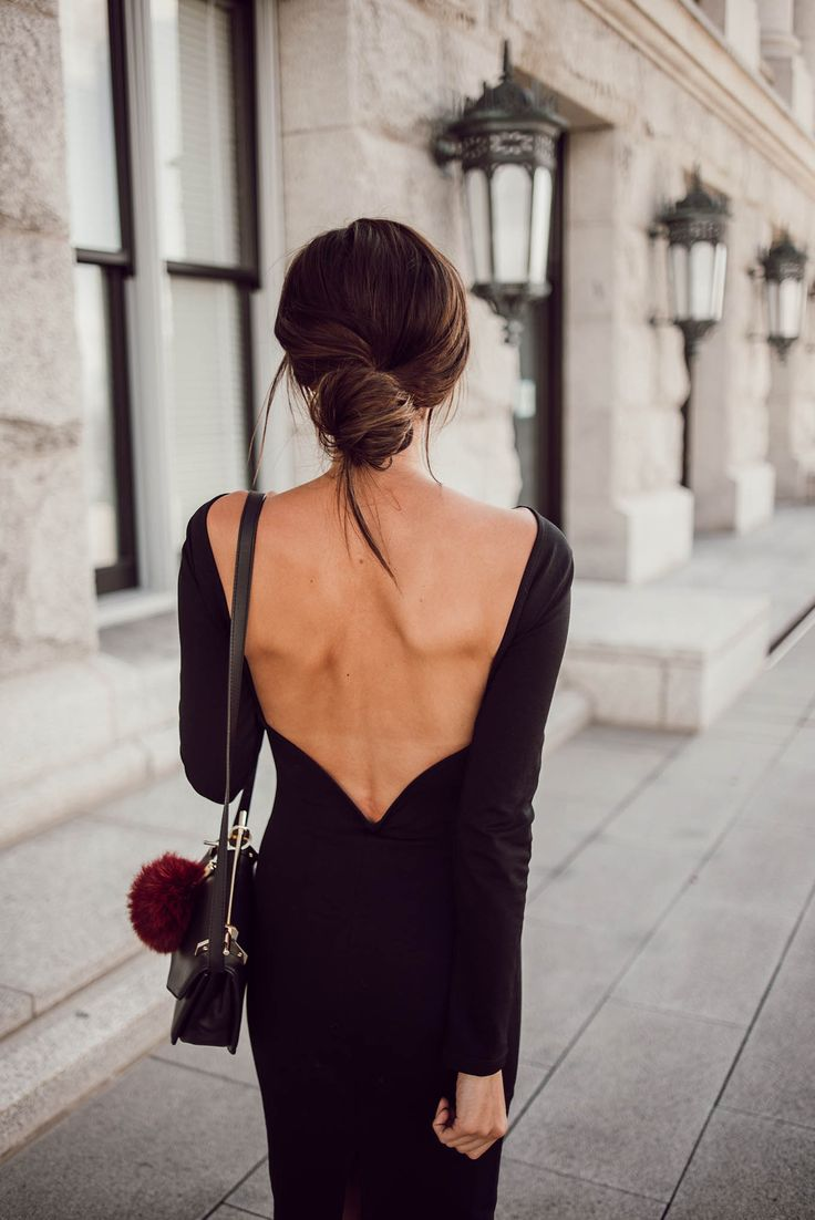 Black dress hairstyle - Backless Black Lbd
