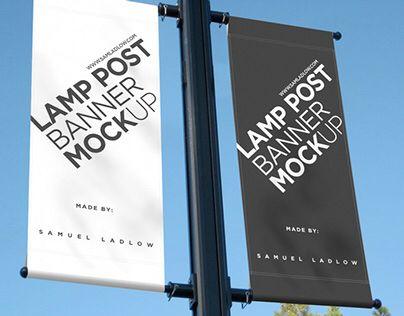 Lamp post banner sign mockup. Free psd