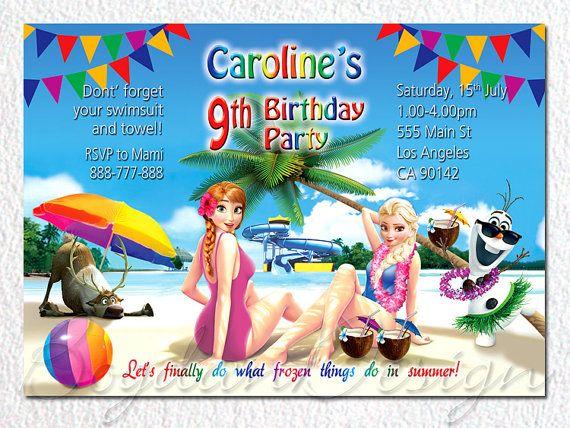 Frozen Invitation, Disney Frozen, Birthday Party Invitation, Frozen Birthday Party, Summer Frozen invitation