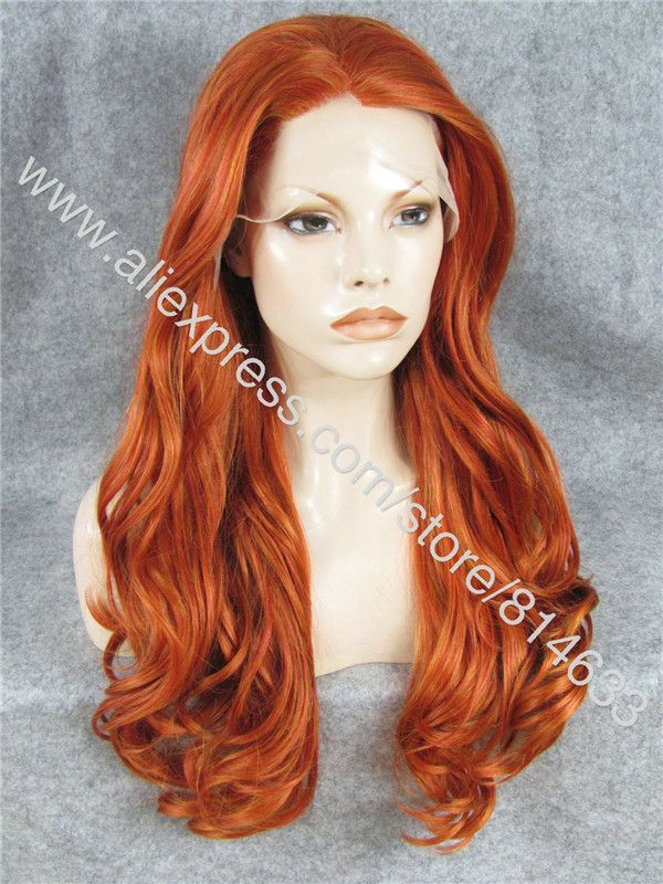 "S07 24 ""Lange Golvende Reddish Blond Pruik Japan Fiber Kanekalon Pruik Celebrity Synthetische Kant Cosplay Pruik Redish in Hot Sale! Natural Color 4*4 Lace Top Closure 7A Human Virgin Hair Brazilian Body Wave Free/Middle 3 Part Closure 10"" Gol van cosplay pruiken op AliExpress.com 