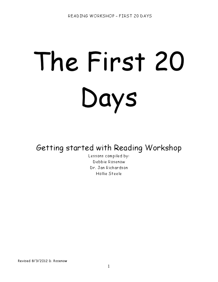 Wow... This is amazing... First 20 Days for Reading Workshop.doc