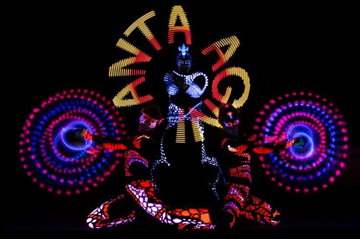 Anta Agni black light show with Visual Pixel Poi am LED light props http://antaagni.com/uv-light-show/