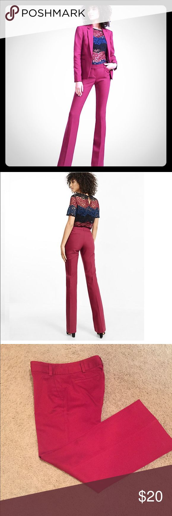 Express Editor Pant Flat-front Express Editor pant in oxblood red provide a fashion statement for fall. Wear with a silk Blouse and blazer, a sweater, or even a tank/t and Denim jacket. Elevate your work look with these on-trend trousers! Express Pants Trousers