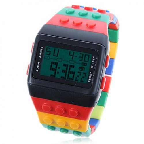 Exquisite Multi-Function Green LED Digtial Sport Watch with Silicon Watchband WS-823 (Colorful)