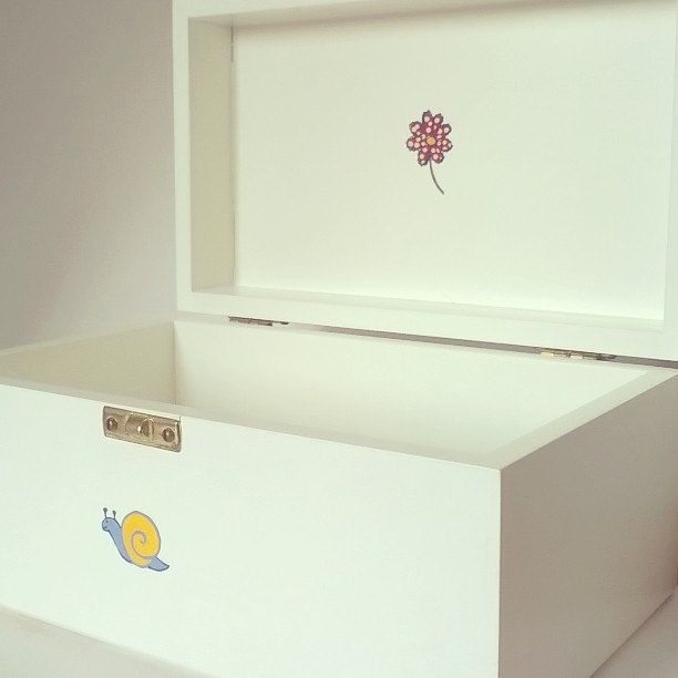 jewellery box - solid wood box - decorated with flower motif by NJscollection on Etsy