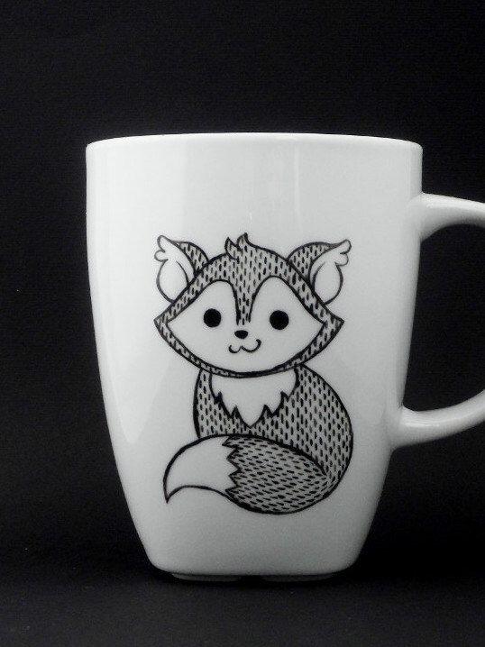 fox mug in black and white, fox, fox mug, fox cup, personalized mug, woodland mug, christmas gift par vitaminaeu sur Etsy https://www.etsy.com/fr/listing/166853094/fox-mug-in-black-and-white-fox-fox-mug