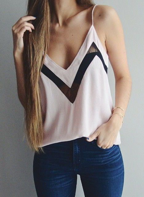 #Street #Style Black & White V-Tank Top with Dark Denim Jeans @wachabuy