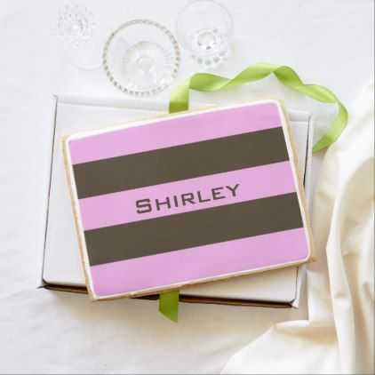 Pink and Chocolate Brown Wide Stripes by STaylor Shortbread Cookie - modern style idea design custom idea