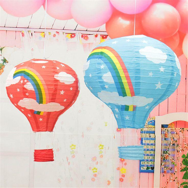 1 pcs/lot  12'' Rainbow Hot Air Balloon Paper Lantern Birthday Party Wedding Decor Colour
