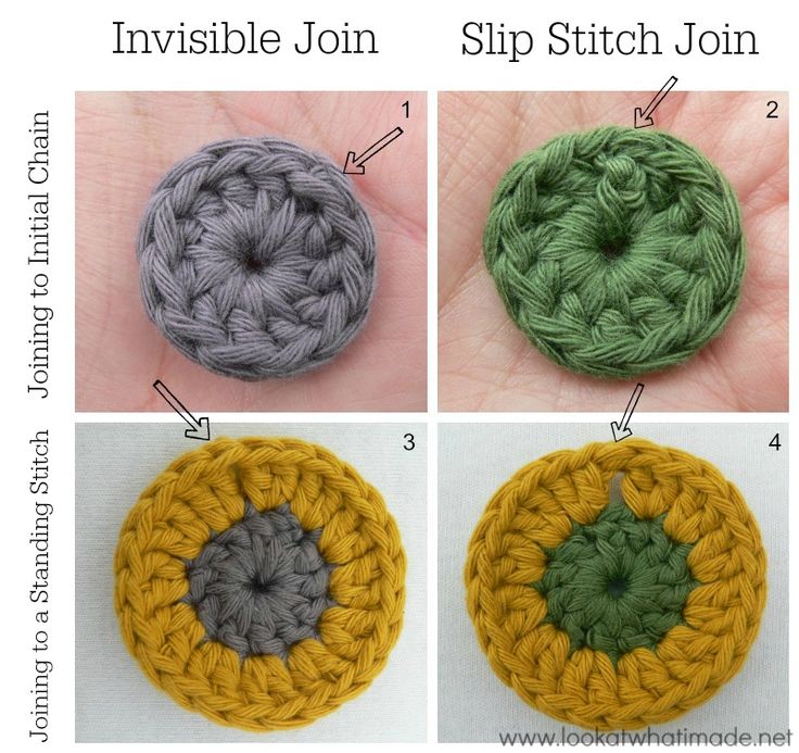 How to Crochet Invisible Join and Slip Stitch Join Great instructions.