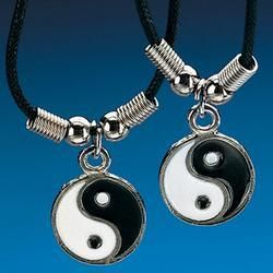 Yin yang necklaces on that black plastic chain.  #childhood #nostalgia #90s