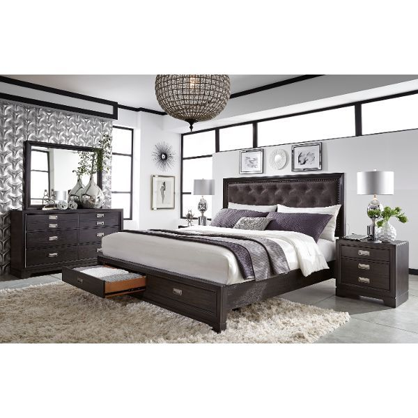 Licorice Black Contemporary 6 Piece Queen Bedroom Set - Front Street