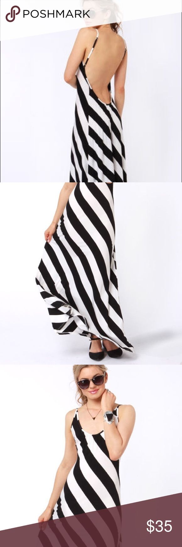 Black and white stripe backless maxi dress 🖤 Black and white stripe backless maxi dress size medium from Lulus Lulu's Dresses